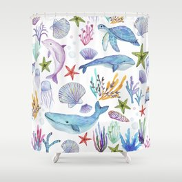 under the sea watercolor Shower Curtain
