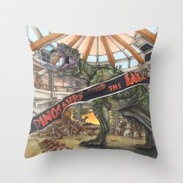 When Dinosaurs Ruled the Earth - Jurassic Park T-Rex Throw Pillow