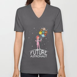 Future Astronaut With Planets design Gift For Girls Unisex V-Neck
