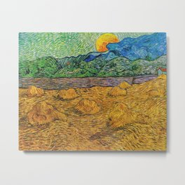 Evening Landscape with Rising Moon by Vincent Van Gogh Metal Print