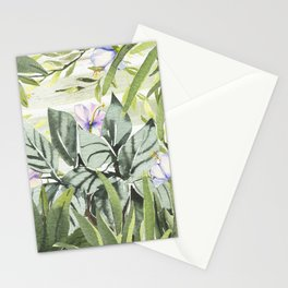 Tropical  lavender forest green watercolor floral Stationery Cards