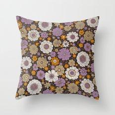 Retro floral sheet purples Throw Pillow
