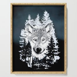 Forest Wolf Art Serving Tray