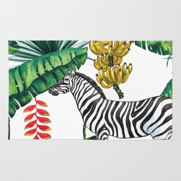 watercolor banana leaves with zebra Rug