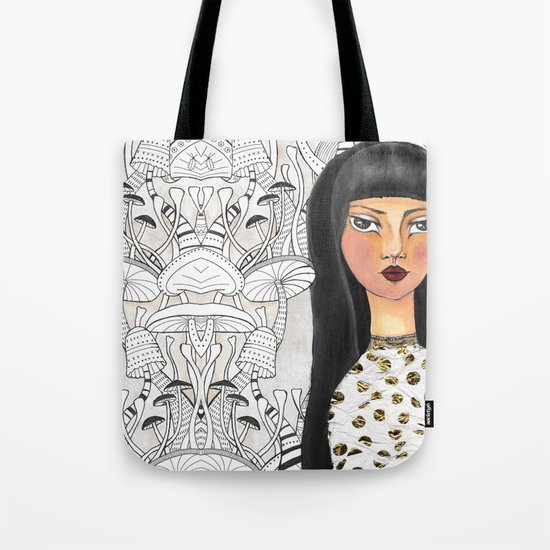 The girl with the red lips Tote Bag