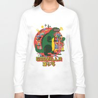 godzilla Long Sleeve T-shirts featuring GODZILLA by Katboy 7