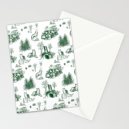 Eurasian Wolf Toile Pattern (Green) Stationery Cards