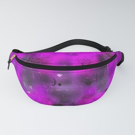 pink blurry heart shape with black background Fanny Pack