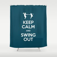 keep calm Shower Curtains featuring Keep Calm by Chickadee Designs