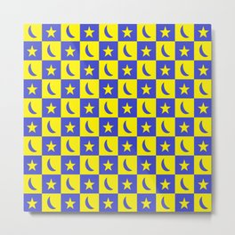 Moon And Stars Blue/Yelow Metal Print