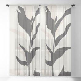 Abstract Minimal Plant Sheer Curtain