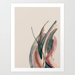 Slow Burn: a pretty, minimal, abstract mixed media piece using watercolor and ink Art Print