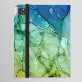Purple Blue Green Yellow Abstract 2621 Alcohol Ink Painting by Herzart iPad Folio Case