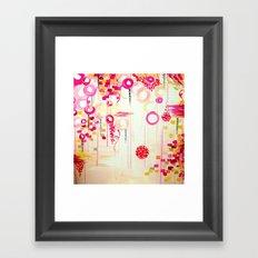 BALLOON LOVE Bubblegum POP! Beautiful Cheerful Bubbles Pretty Pink  Abstract Acrylic Painting Sky Framed Art Print