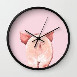 Pig Cutie Butt in Pink Wall Clock