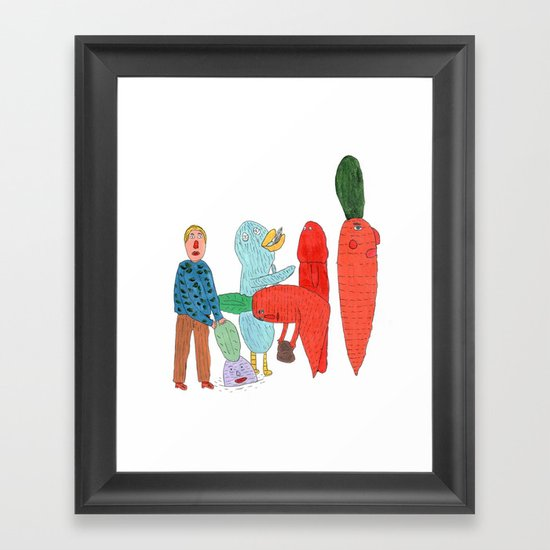 Friends and the garden. Framed Art Print