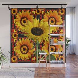 SOUTHWESTERN  BLACK COLOR YELLOW SUNFLOWERS ART Wall Mural