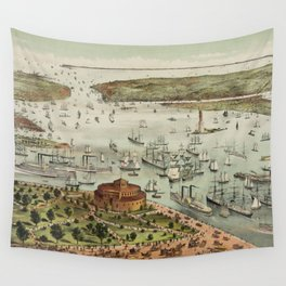 Vintage Pictorial Map of The Port of New York Wall Tapestry