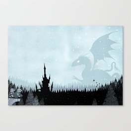 Dragon in Snowy Forest Canvas Print