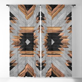 Urban Tribal Pattern No.6 - Aztec - Concrete and Wood Blackout Curtain