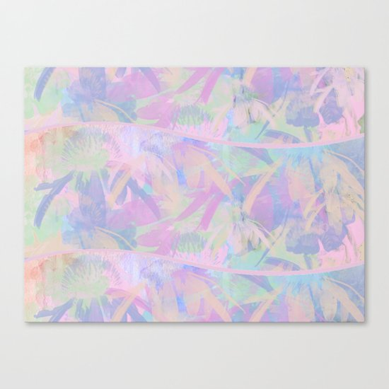 Painterly Soft Floral Waves Abstract Canvas Print