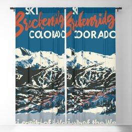 Blue Breckenridge Vintage Ski Poster Blackout Curtain