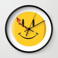 watchmen Wall Clocks featuring Who watches the watchmen?  by Vickn