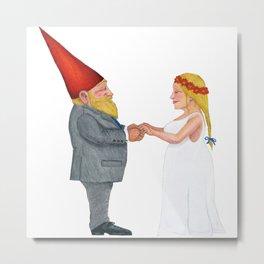 Gnome Wedding Metal Print