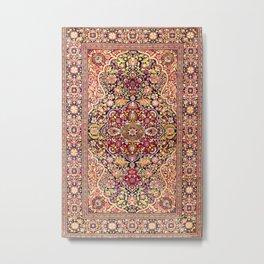 Esfahan Antique Floral Persian Rug Metal Print