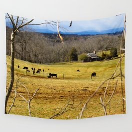Cattle ranch overlooking the Blue Ridge Mountains Wall Tapestry