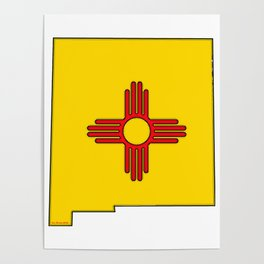 New Mexico Map with State Flag Poster