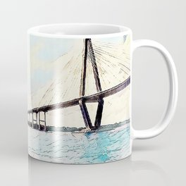 Charleston South Carolina - Sailboat - Arthur Ravenel Jr Bridge Coffee Mug