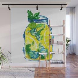 Watercolor - Iced Lemon Mint Tea Wall Mural