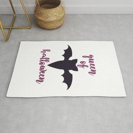 queen of halloween - Halloween hand drawn quotes illustration. Funny humor. Life sayings. Spooky funny quotes. Rug