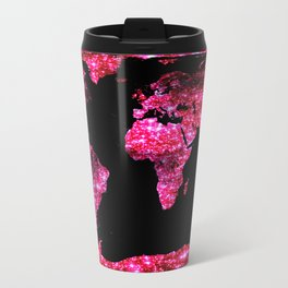 World Map : Pink Galaxy Sparkle Travel Mug