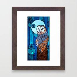 Barn Owl Art Nouveau Panel in blue Framed Art Print