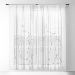 Womans body line drawing illustration - Helen Sheer Curtain