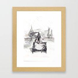 an octopus that walks on land part1 reading a newspaper in the rain Framed Art Print