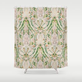 Green Pink Leaf Flower Paisley Shower Curtain