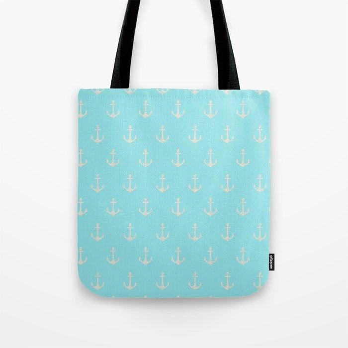 Maritime Aqua and White Anchor Pattern Tote Bag