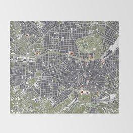 Madrid city map engraving Throw Blanket