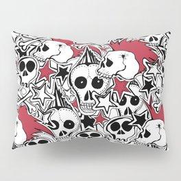 Seamles pattern. Crazy punk rock abstract background. Skulls,stars, rock symbols Pillow Sham