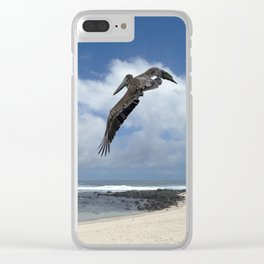 Pelican above the beach Clear iPhone Case