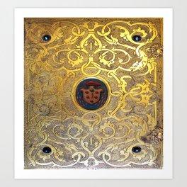 Golden Swirls Book Art Print