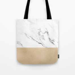 White Marble with Black and Copper Bronze Tote Bag