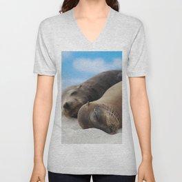 Galapagos Sea lions family sleeping on beach Unisex V-Neck