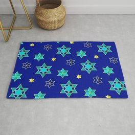 Hanukkah Jewish Star Geometric Pattern in Blue Contemporary Rug