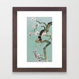Fortune Cat In Cherry Tree Framed Art Print