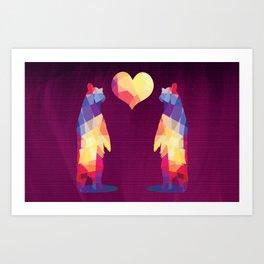 Geometric Bears - Magenta Art Print