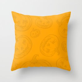 Jack O Lantern Pumpkin Pattern Throw Pillow